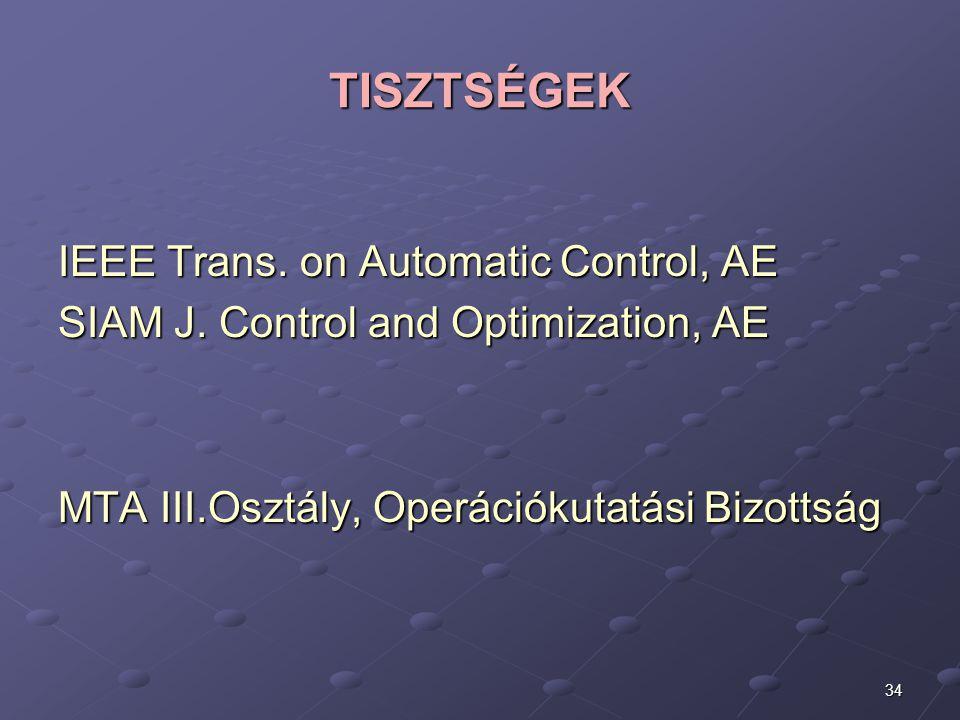 34 TISZTSÉGEK IEEE Trans. on Automatic Control, AE SIAM J. Control and Optimization, AE MTA III.Osztály, Operációkutatási Bizottság