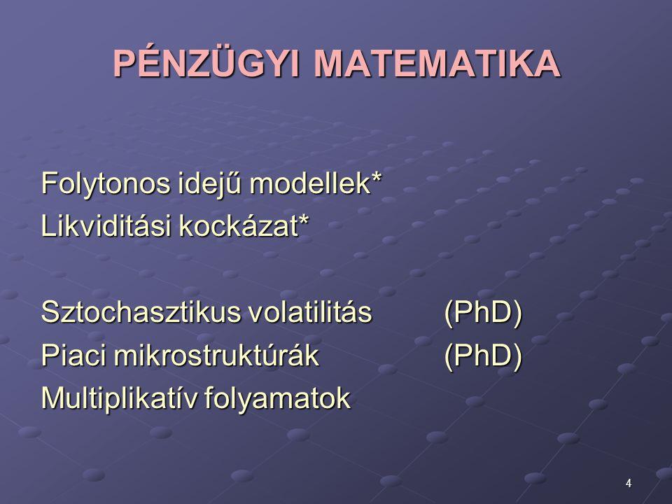 4 PÉNZÜGYI MATEMATIKA Folytonos idejű modellek* Likviditási kockázat* Sztochasztikus volatilitás (PhD) Piaci mikrostruktúrák (PhD) Multiplikatív folya