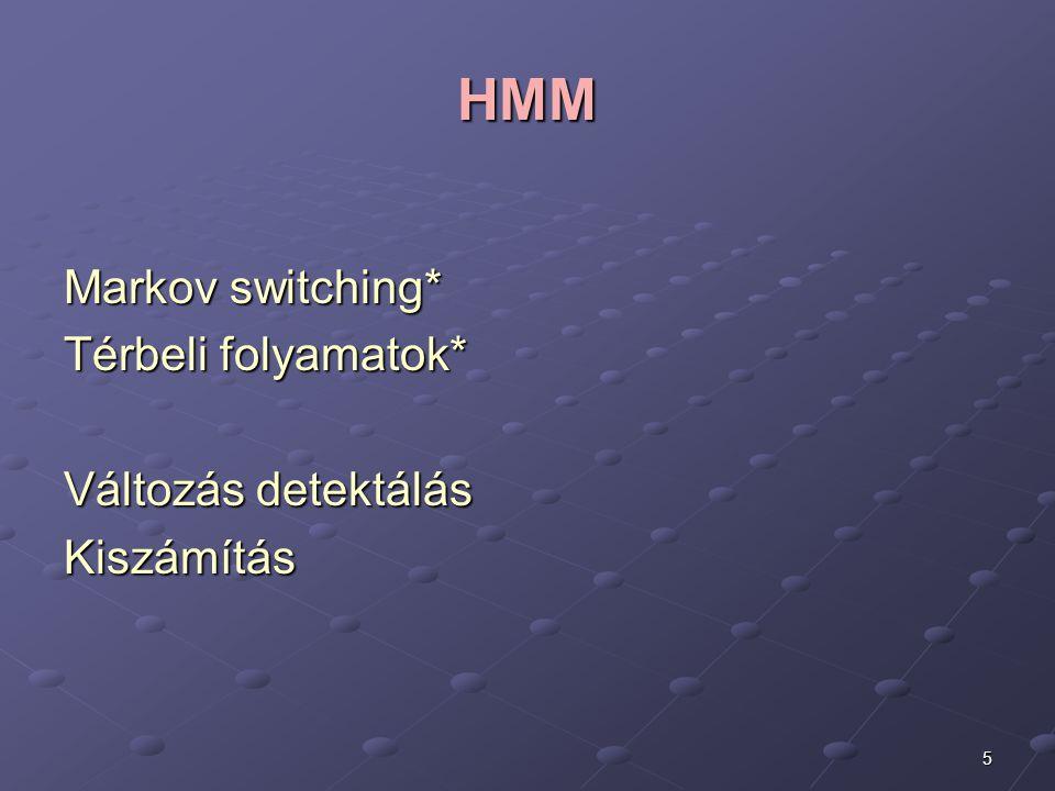 5 HMM Markov switching* Térbeli folyamatok* Változás detektálás Kiszámítás