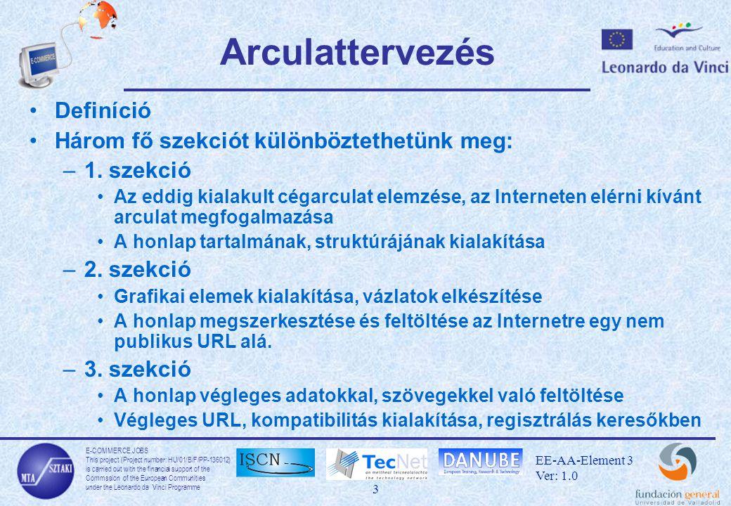 E-COMMERCE JOBS This project (Project number: HU/01/B/F/PP-136012) is carried out with the financial support of the Commssion of the European Communities under the Leonardo da Vinci Programme 14 EE-AA-Element 3 Ver: 1.0 JPEG JPEG: Joint Photographic Experts Group –Tömörített képformátum –Veszteséges eljárás, a kép minősége a tömörítés arányában romlik –Kódoláskor megválasztható a tömörítés mértéke –Nem alkalmas fekete-fehér képek tömörítésére vagy mozgó grafikák létrehozására Ajánlott felhasználás