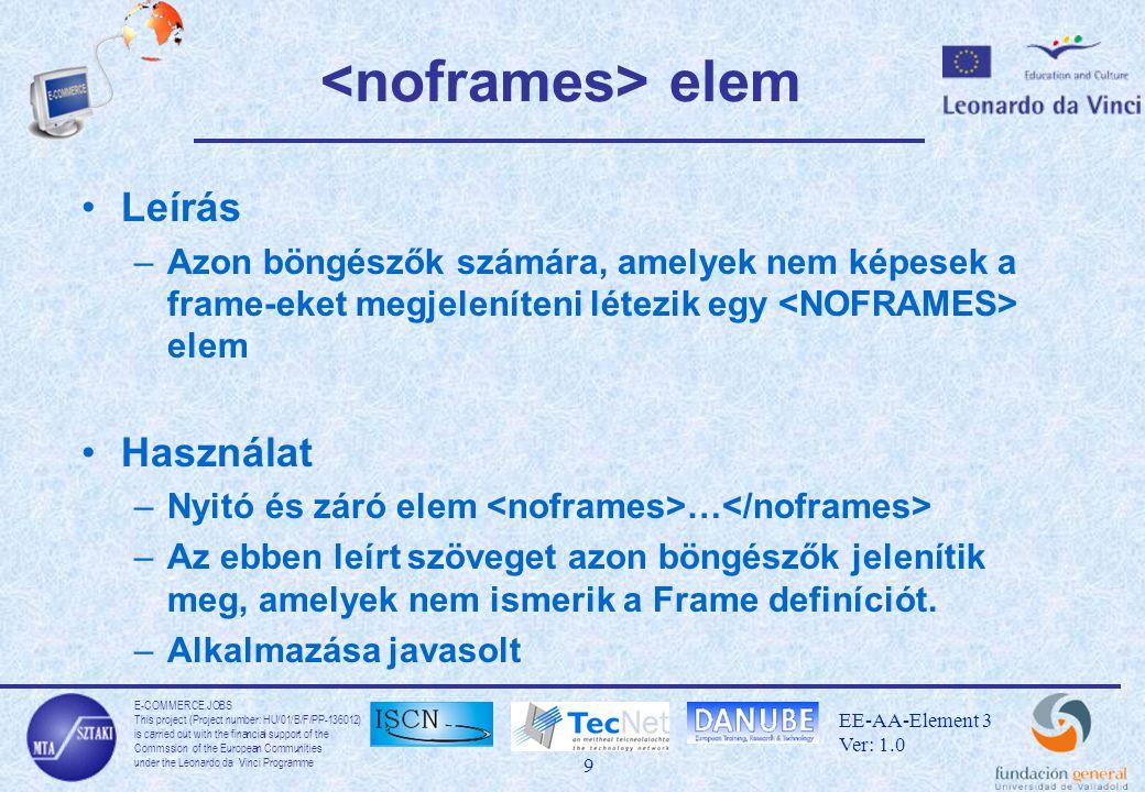 E-COMMERCE JOBS This project (Project number: HU/01/B/F/PP-136012) is carried out with the financial support of the Commssion of the European Communities under the Leonardo da Vinci Programme 30 EE-AA-Element 3 Ver: 1.0 XML felépítése Logikai felépítés –Elemek A jelölőelem nyitó része és a jelölőelem záró része a benne lévő adattal együtt jelent egy elemi egységet Metaadat: az elem a nevén kívül a tartalmáról is többletinformációt hordoz Metaadatot a jellemzőkben tároljuk Fizikai felépítés –Egyedek Egységek egyedi tárolása egyed deklaráció segítségével definiálhatunk, ezután az egyedet az egyedhivatkozás azonosítja Az egyetlen egyed, amelyhez nem rendelünk nevet a dokumentum egyed