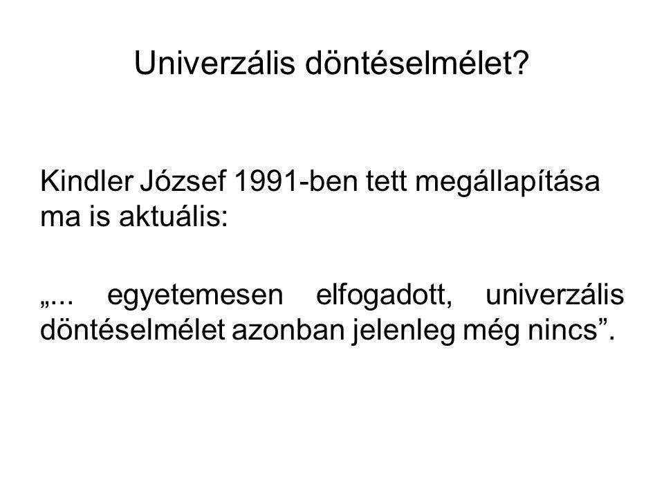 """Univerzális döntéselmélet? Kindler József 1991-ben tett megállapítása ma is aktuális: """"... egyetemesen elfogadott, univerzális döntéselmélet azonban j"""
