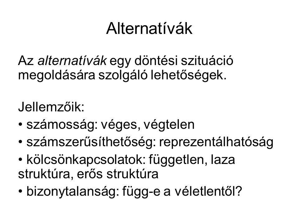 Alternatívák Az alternatívák egy döntési szituáció megoldására szolgáló lehetőségek. Jellemzőik: számosság: véges, végtelen számszerűsíthetőség: repre