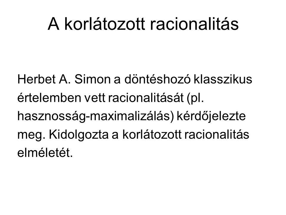 A korlátozott racionalitás Herbet A. Simon a döntéshozó klasszikus értelemben vett racionalitását (pl. hasznosság-maximalizálás) kérdőjelezte meg. Kid