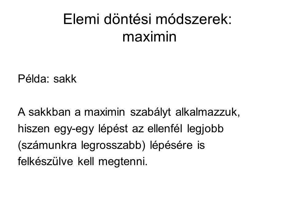 Elemi döntési módszerek: maximin Példa: sakk A sakkban a maximin szabályt alkalmazzuk, hiszen egy-egy lépést az ellenfél legjobb (számunkra legrosszab