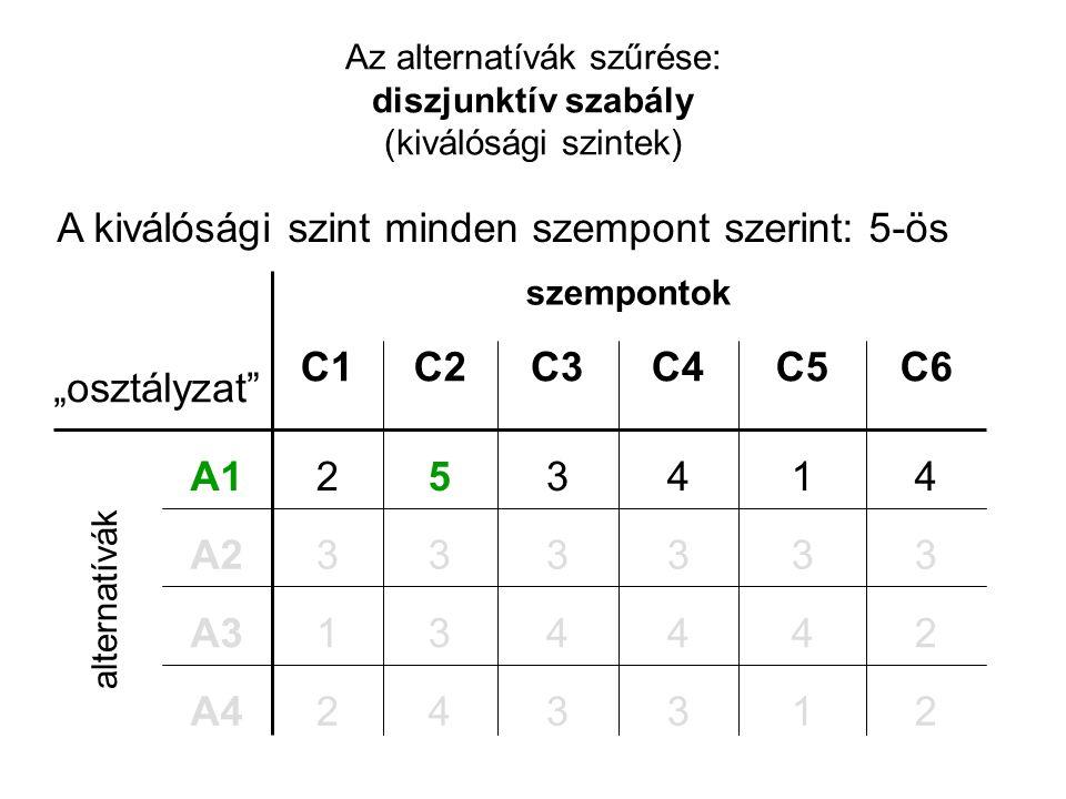 """Az alternatívák szűrése: diszjunktív szabály (kiválósági szintek) szempontok 244431A3 1 3 1 C5 3 3 4 C4 2342A4 3333A2 4352A1 C6C3C2C1 """"osztályzat"""" alt"""