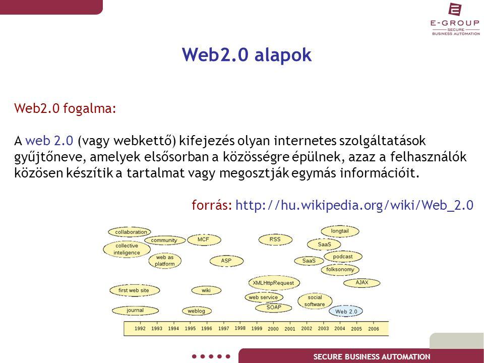 SECURE BUSINESS AUTOMATION Web2.0 alapok Web2.0 fogalma: A web 2.0 (vagy webkettő) kifejezés olyan internetes szolgáltatások gyűjtőneve, amelyek elsős