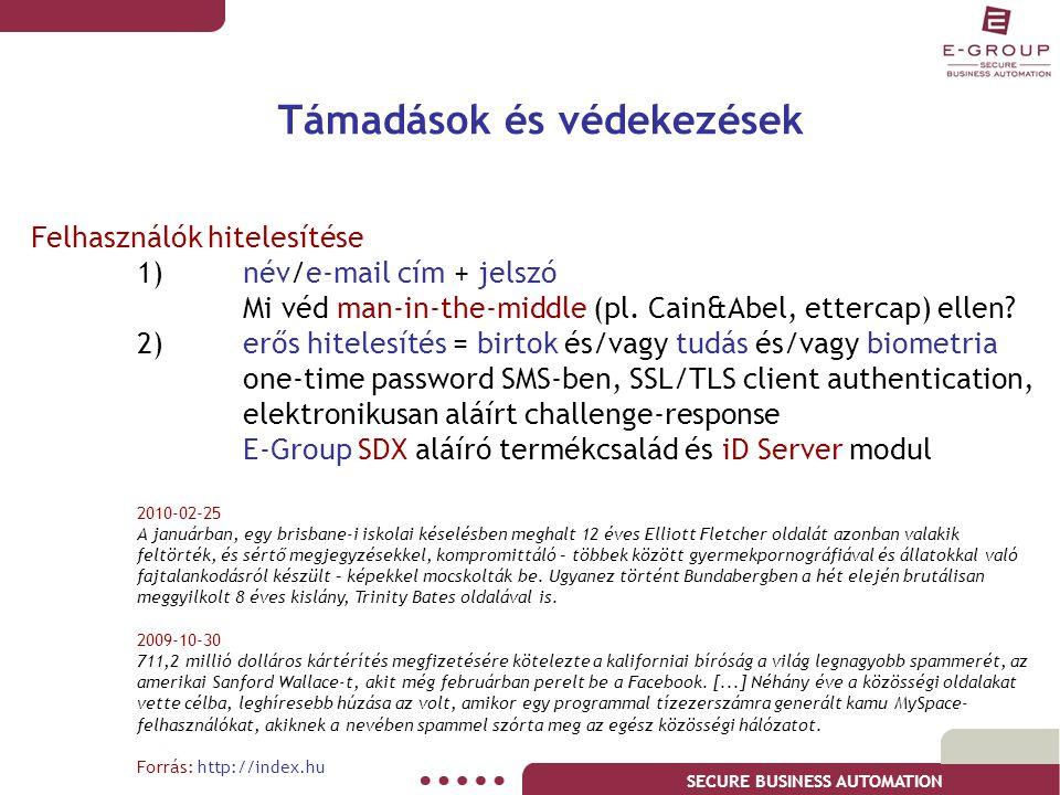 SECURE BUSINESS AUTOMATION Támadások és védekezések Felhasználók hitelesítése 1)név/e-mail cím + jelszó Mi véd man-in-the-middle (pl. Cain&Abel, etter