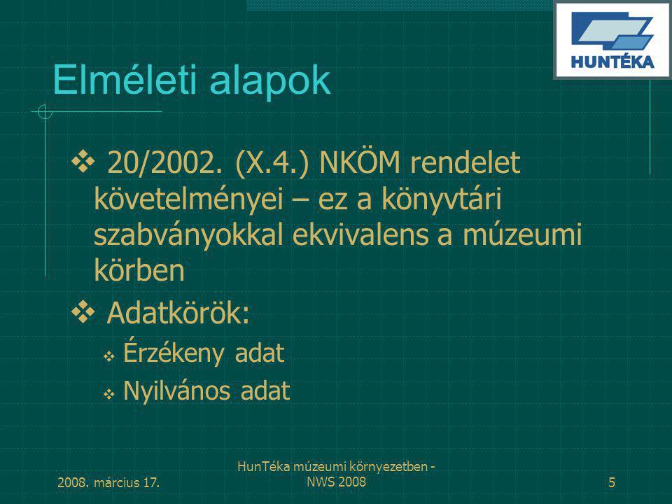 2008.március 17. HunTéka múzeumi környezetben - NWS 20085 Elméleti alapok  20/2002.