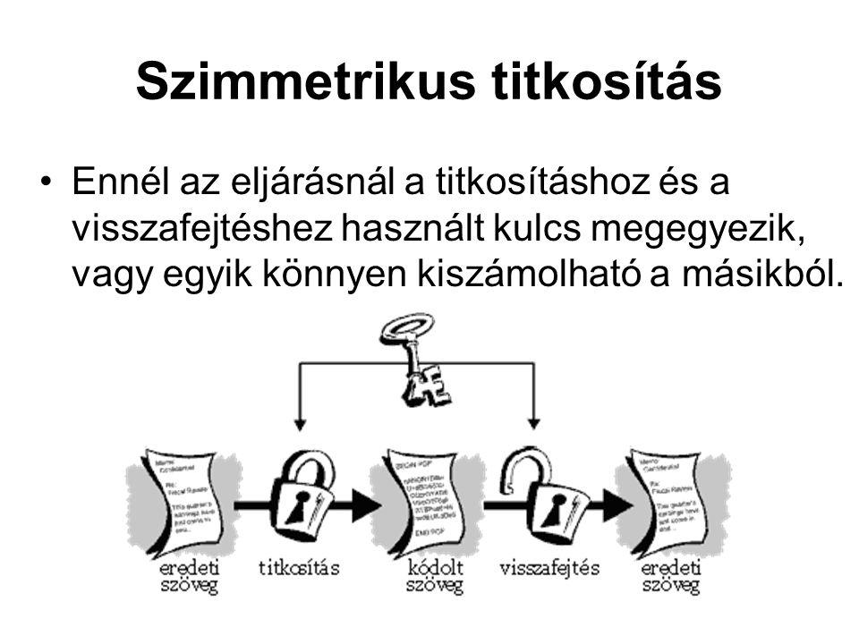 Szimmetrikus titkosítás Ennél az eljárásnál a titkosításhoz és a visszafejtéshez használt kulcs megegyezik, vagy egyik könnyen kiszámolható a másikból.