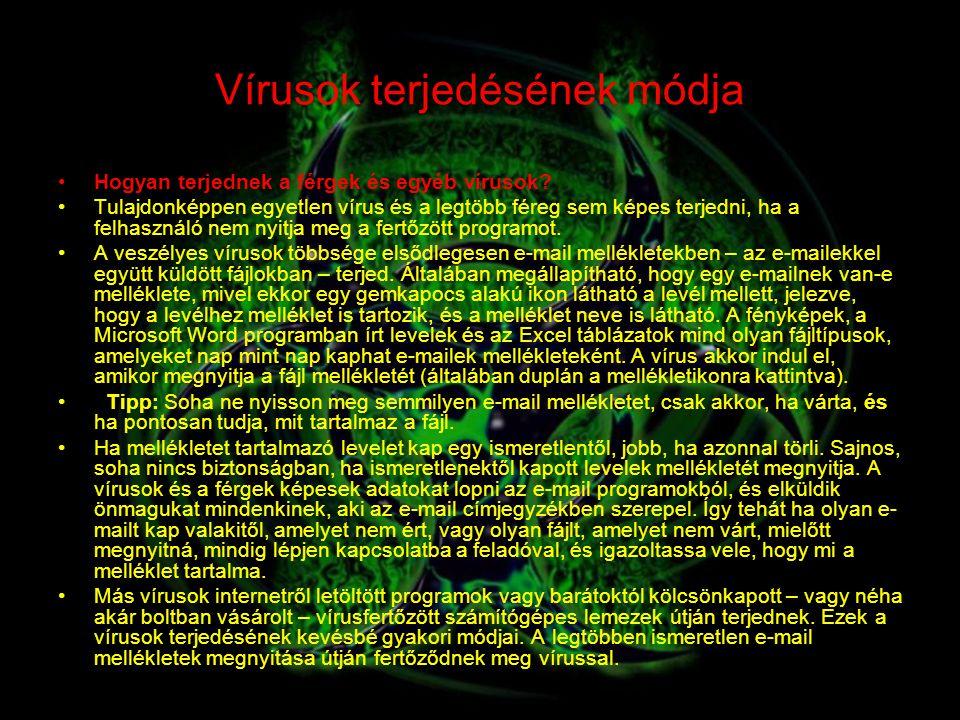 Vírusok terjedésének módja Hogyan terjednek a férgek és egyéb vírusok? Tulajdonképpen egyetlen vírus és a legtöbb féreg sem képes terjedni, ha a felha