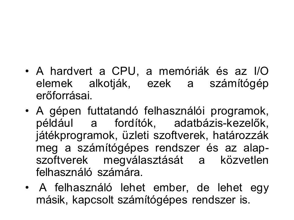 szervező, amely a számítógépes feldolgozás elemeit, a szoftvert, a hardvert és az adatokat koordinálja.