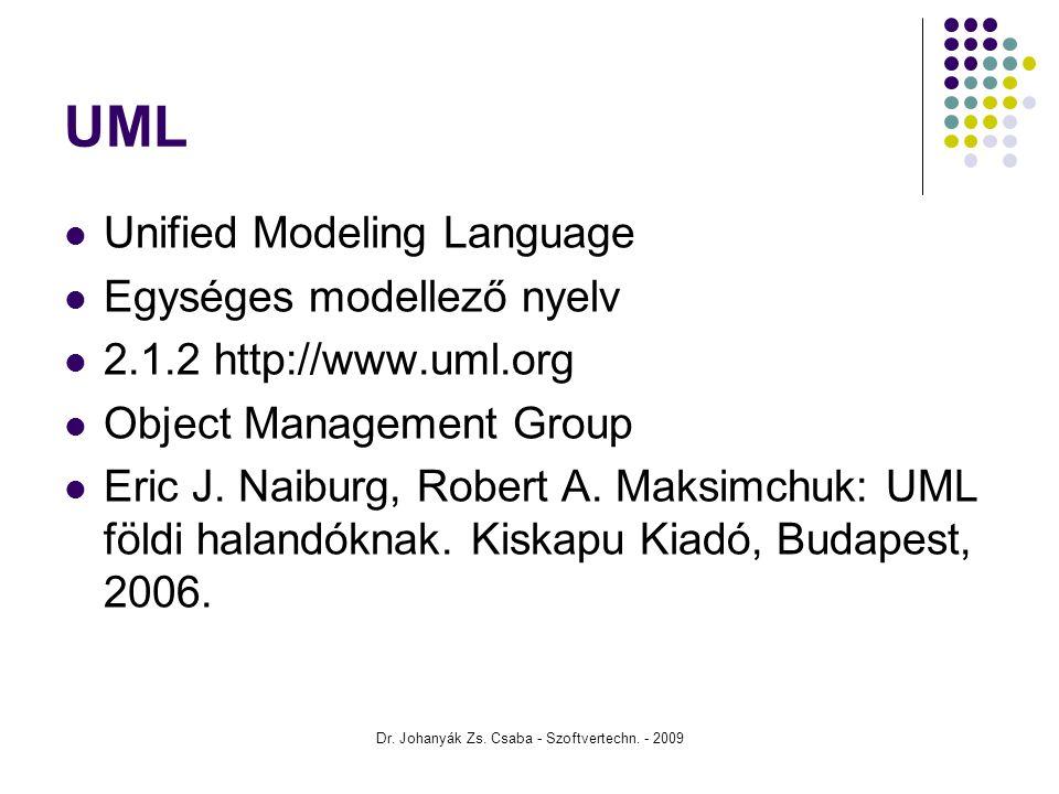 Dr. Johanyák Zs. Csaba - Szoftvertechn. - 2009 UML Unified Modeling Language Egységes modellező nyelv 2.1.2 http://www.uml.org Object Management Group