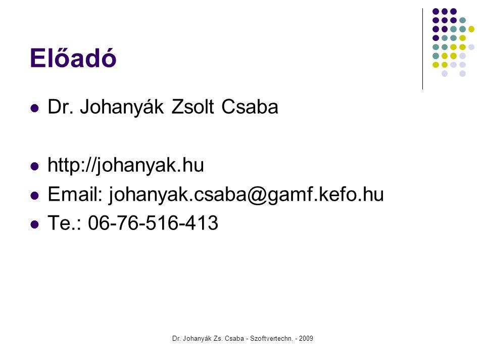 Dr. Johanyák Zs. Csaba - Szoftvertechn. - 2009 Előadó Dr. Johanyák Zsolt Csaba http://johanyak.hu Email: johanyak.csaba@gamf.kefo.hu Te.: 06-76-516-41