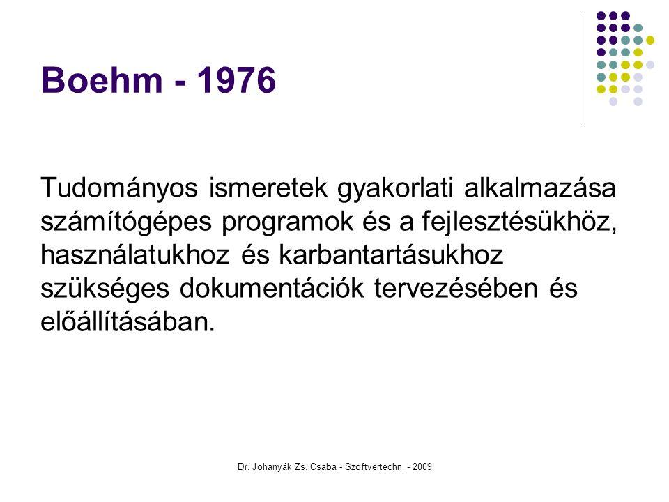Dr. Johanyák Zs. Csaba - Szoftvertechn. - 2009 Boehm - 1976 Tudományos ismeretek gyakorlati alkalmazása számítógépes programok és a fejlesztésükhöz, h