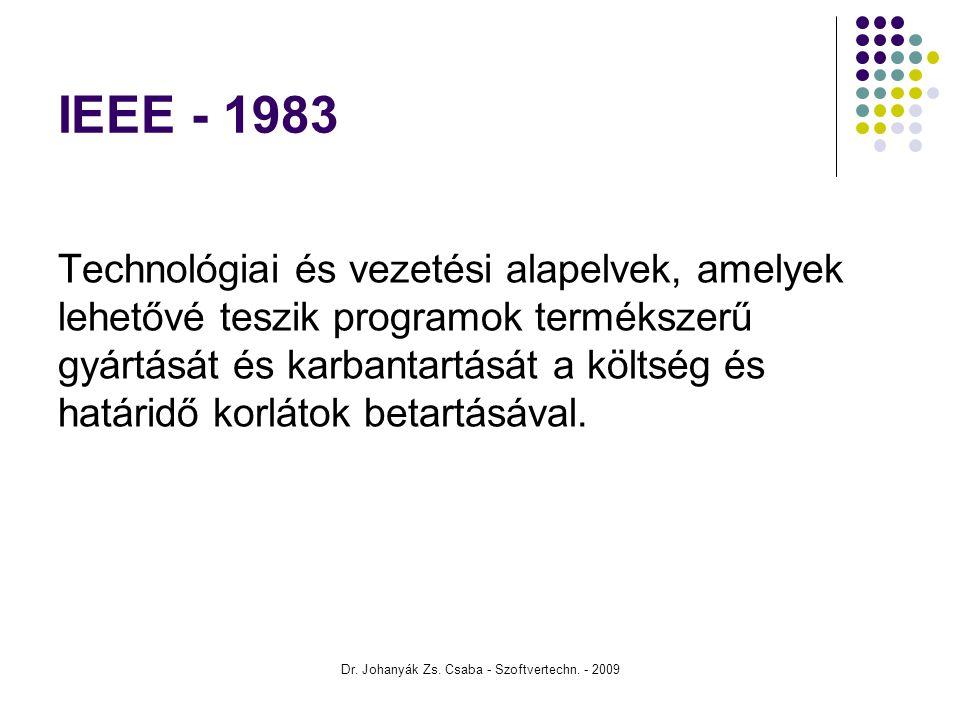 Dr. Johanyák Zs. Csaba - Szoftvertechn. - 2009 IEEE - 1983 Technológiai és vezetési alapelvek, amelyek lehetővé teszik programok termékszerű gyártását