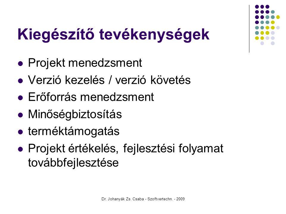 Dr. Johanyák Zs. Csaba - Szoftvertechn. - 2009 Kiegészítő tevékenységek Projekt menedzsment Verzió kezelés / verzió követés Erőforrás menedzsment Minő