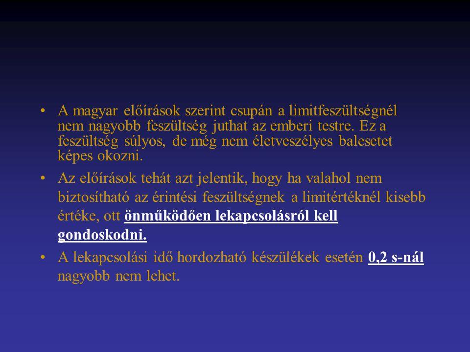A magyar előírások szerint csupán a limitfeszültségnél nem nagyobb feszültség juthat az emberi testre. Ez a feszültség súlyos, de még nem életveszélye