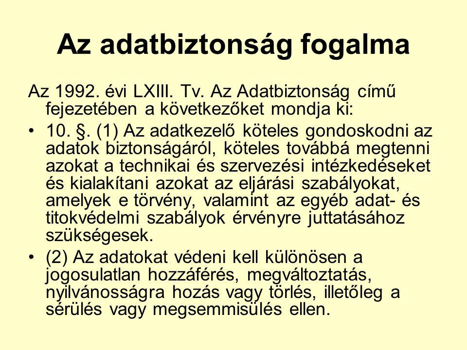 Az adatbiztonság fogalma Az 1992. évi LXIII. Tv. Az Adatbiztonság című fejezetében a következőket mondja ki: 10. §. (1) Az adatkezelő köteles gondosko