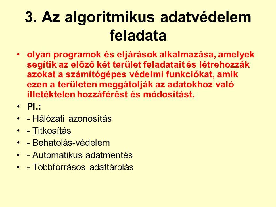 3. Az algoritmikus adatvédelem feladata olyan programok és eljárások alkalmazása, amelyek segítik az előző két terület feladatait és létrehozzák azoka