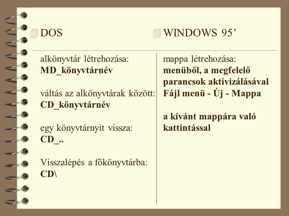 4 DOS alkönyvtár létrehozása: MD_könyvtárnév váltás az alkönyvtárak között: CD_könyvtárnév egy könyvtárnyit vissza: CD_..