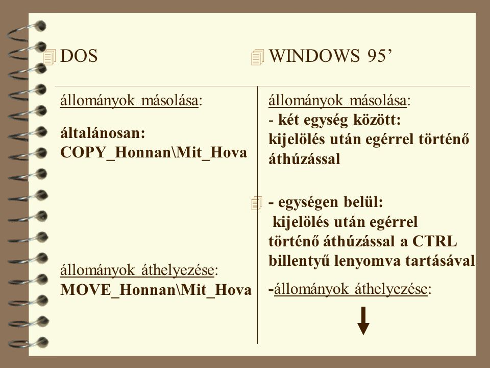 4 DOS állományok másolása: általánosan: COPY_Honnan\Mit_Hova állományok áthelyezése: MOVE_Honnan\Mit_Hova 4 WINDOWS 95' állományok másolása: - két egység között: kijelölés után egérrel történő áthúzással 4 - egységen belül: kijelölés után egérrel történő áthúzással a CTRL billentyű lenyomva tartásával -állományok áthelyezése: