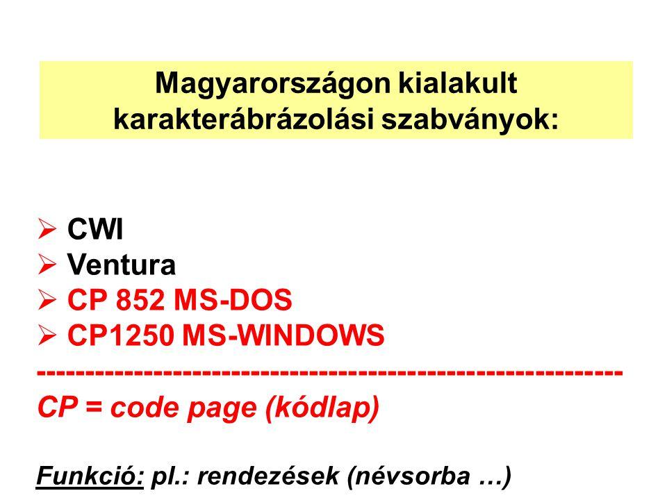  CWI  Ventura  CP 852 MS-DOS  CP1250 MS-WINDOWS ------------------------------------------------------------ CP = code page (kódlap) Funkció: pl.: