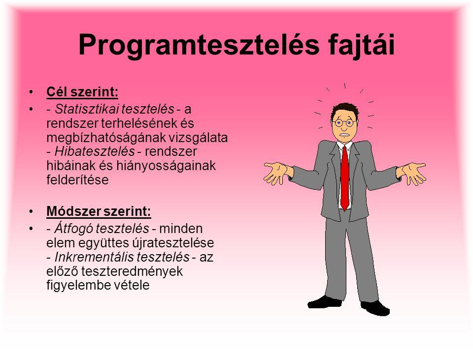 Programtesztelés fajtái Cél szerint: - Statisztikai tesztelés - a rendszer terhelésének és megbízhatóságának vizsgálata - Hibatesztelés - rendszer hib