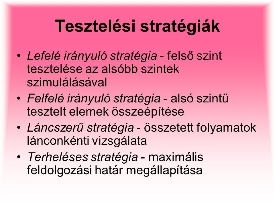 Tesztelési stratégiák Lefelé irányuló stratégia - felső szint tesztelése az alsóbb szintek szimulálásával Felfelé irányuló stratégia - alsó szintű tes