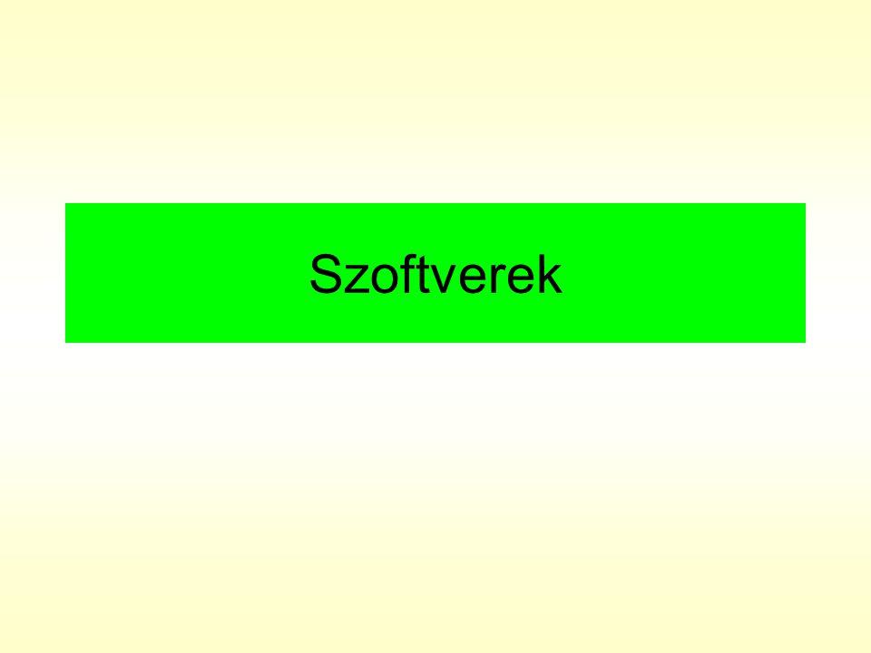 szoftver (software): A számítógép hardver elemeinek mûködtetését végzõ programok, a gép használatához szükséges szellemi termékek összessége.