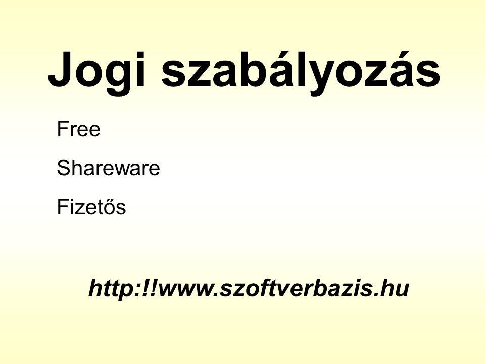 Jogi szabályozás Free Shareware Fizetős http:!!www.szoftverbazis.hu