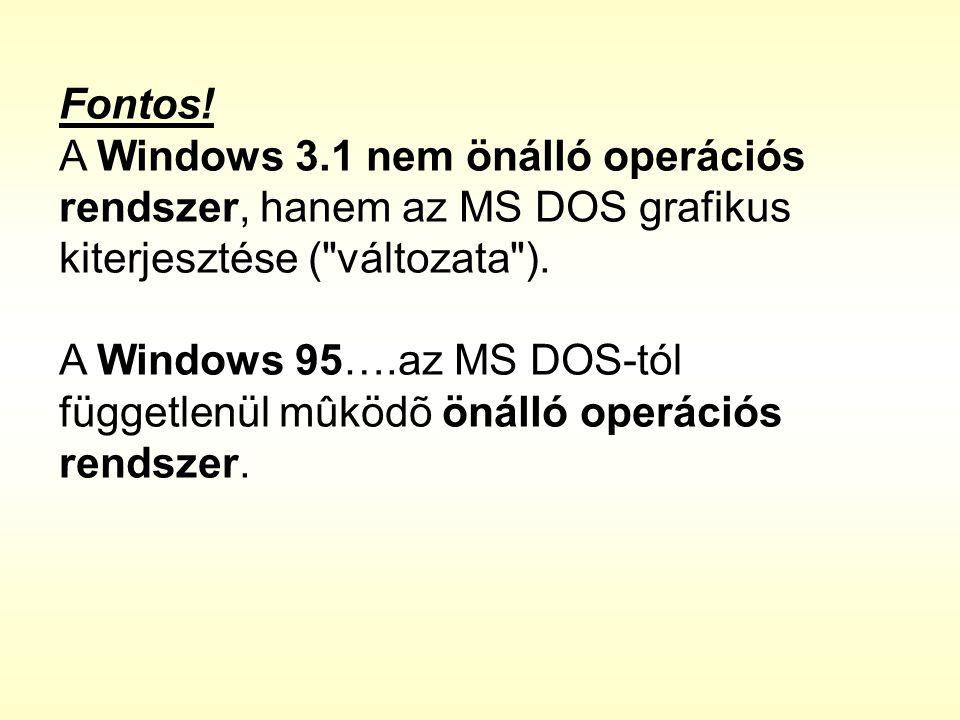Fontos! A Windows 3.1 nem önálló operációs rendszer, hanem az MS DOS grafikus kiterjesztése (