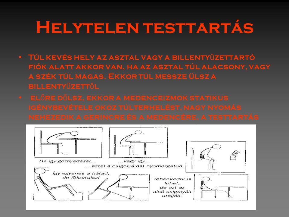 Orsós Ferenc Helytelen testtartás Túl kevés hely az asztal vagy a billenty ű zettartó fiók alatt akkor van, ha az asztal túl alacsony, vagy a szék túl