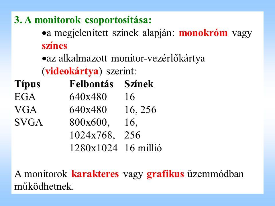 3. A monitorok csoportosítása:   a megjelenített színek alapján: monokróm vagy színes   az alkalmazott monitor-vezérlőkártya (videokártya) szerint
