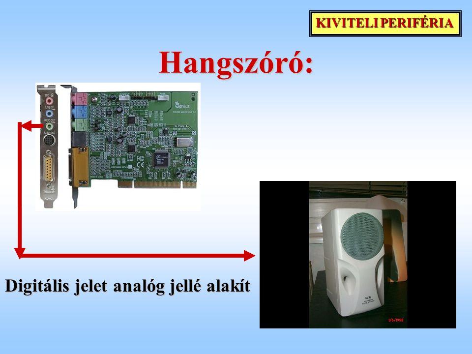 Hangszóró: Digitális jelet analóg jellé alakít KIVITELI PERIFÉRIA