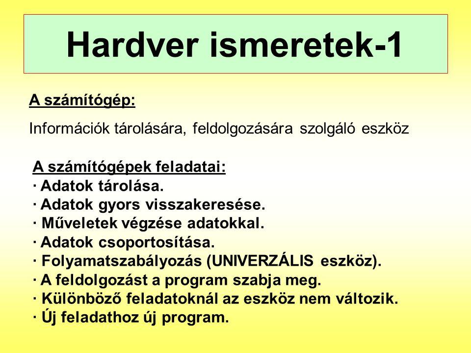 Hardver ismeretek-1 A számítógép: Információk tárolására, feldolgozására szolgáló eszköz A számítógépek feladatai: · Adatok tárolása. · Adatok gyors v