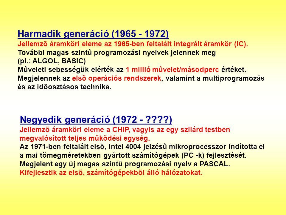 Harmadik generáció (1965 - 1972) Jellemzõ áramköri eleme az 1965-ben feltalált integrált áramkör (IC). További magas szintû programozási nyelvek jelen