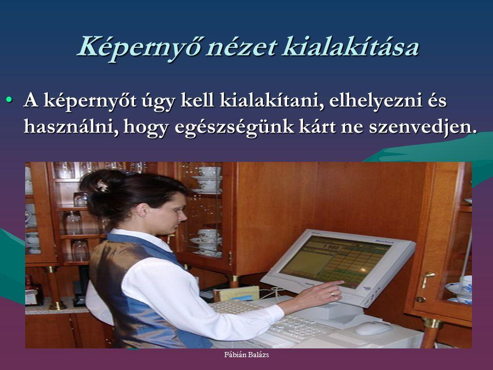 Fábián Balázs Képernyő nézet kialakítása A képernyőt úgy kell kialakítani, elhelyezni és használni, hogy egészségünk kárt ne szenvedjen.A képernyőt úg