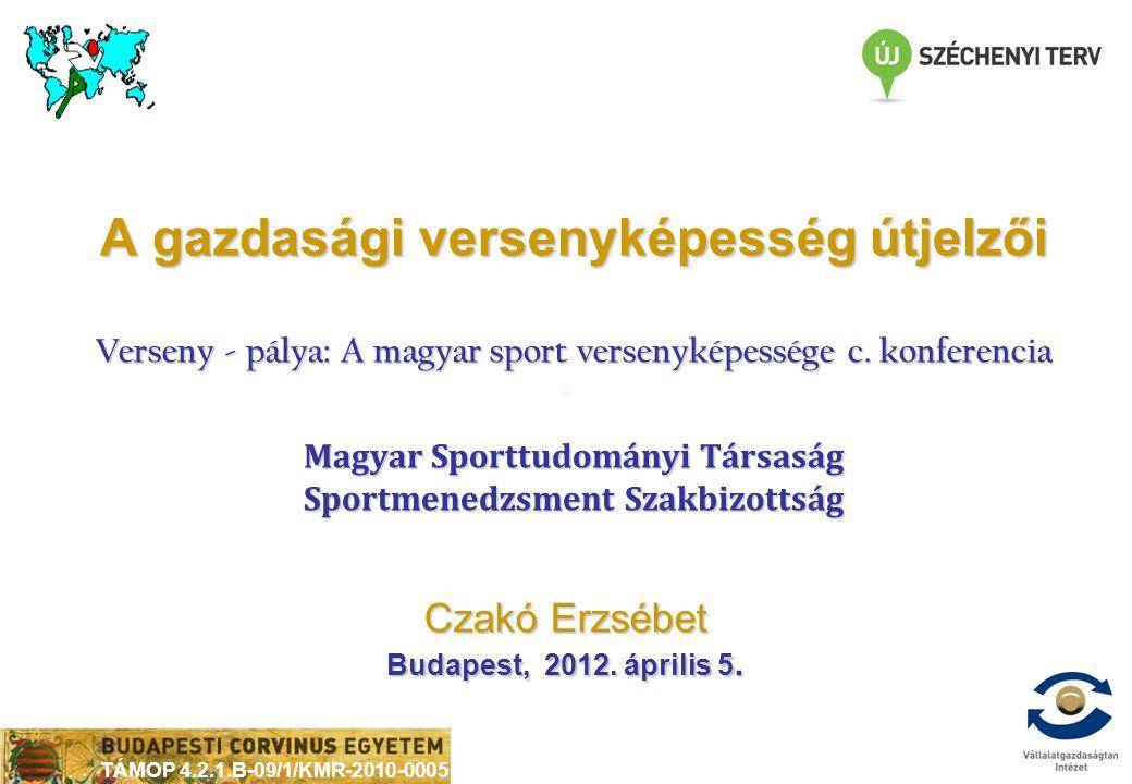 TÁMOP 4.2.1.B-09/1/KMR-2010-0005 Czakó Erzsébet Budapest, 2012. április 5. A gazdasági versenyképesség útjelzői Verseny - pálya: A magyar sport versen