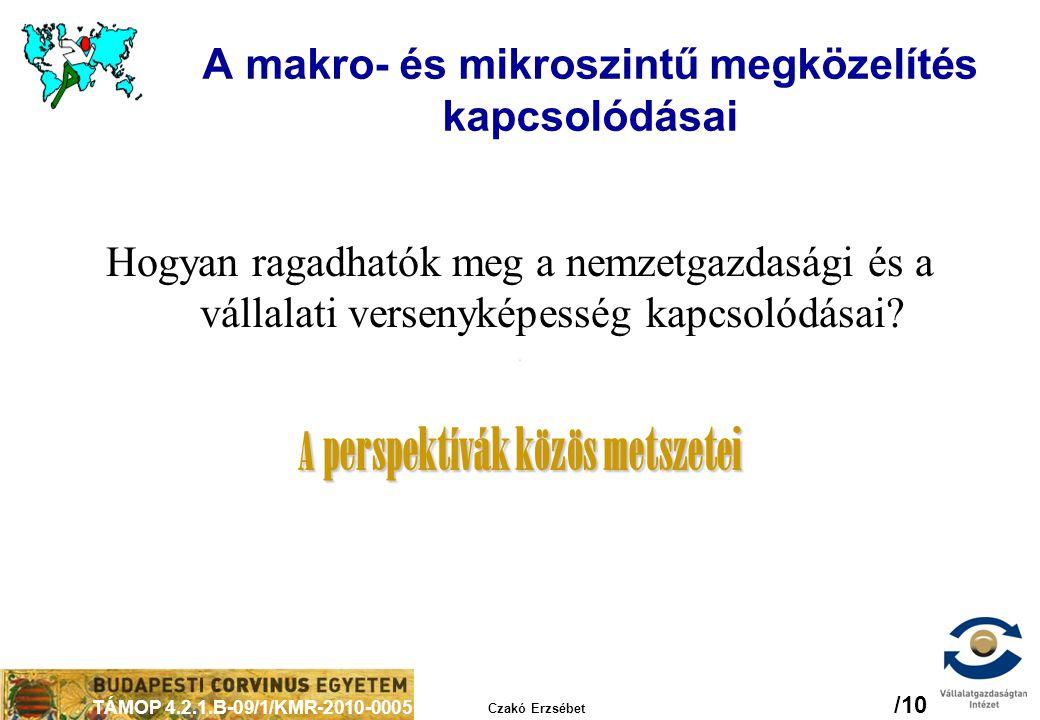 TÁMOP 4.2.1.B-09/1/KMR-2010-0005 Czakó Erzsébet /10 A makro- és mikroszintű megközelítés kapcsolódásai Hogyan ragadhatók meg a nemzetgazdasági és a vá