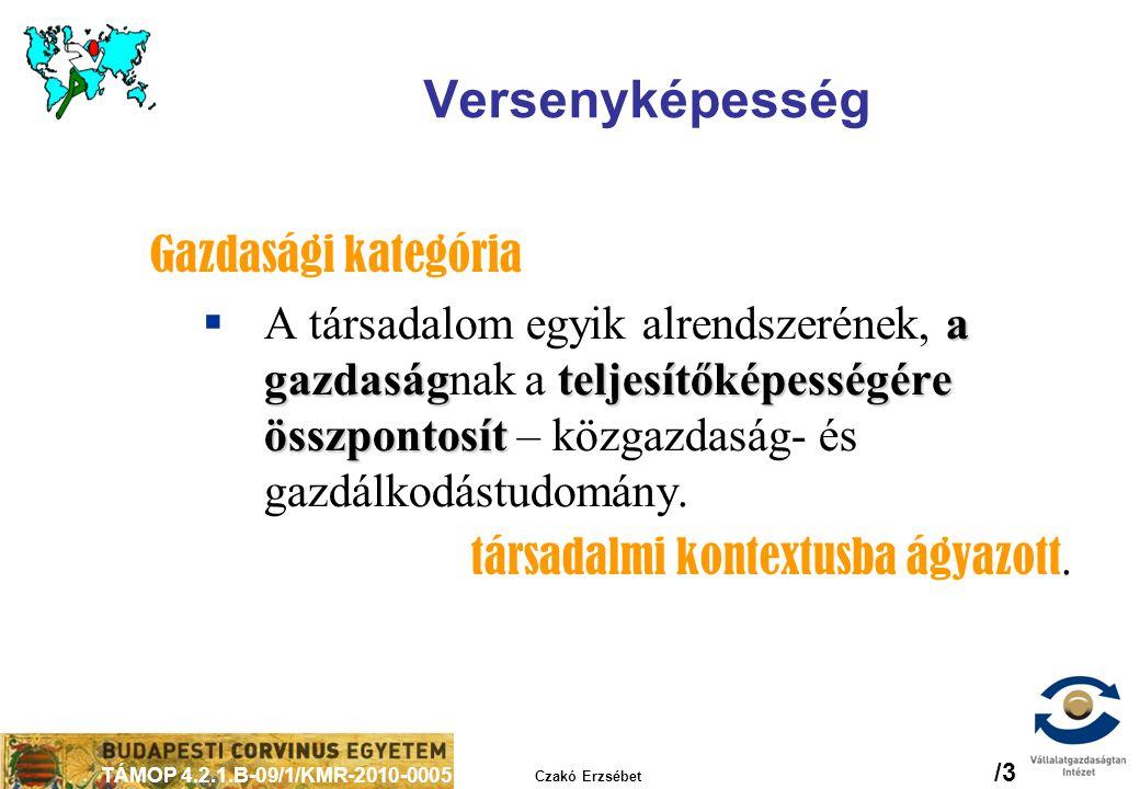 TÁMOP 4.2.1.B-09/1/KMR-2010-0005 Czakó Erzsébet /3 Versenyképesség Gazdasági kategória a gazdaság teljesítőképességére összpontosít  A társadalom egy