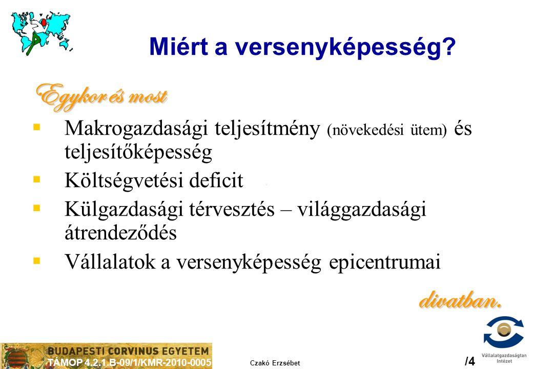 TÁMOP 4.2.1.B-09/1/KMR-2010-0005 Czakó Erzsébet /4 Miért a versenyképesség? Egykor és most  Makrogazdasági teljesítmény (növekedési ütem) és teljesít