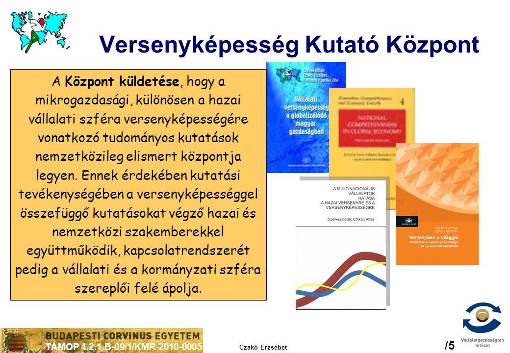 TÁMOP 4.2.1.B-09/1/KMR-2010-0005 Czakó Erzsébet /6 A versenyképesség ügyének tanulságai a kormányzatok számára  Növekedés  Növekedéselméleti megfontolások:  endogén tényezők és intézmények szerepe nyitott gazdaság  A nemzetgazdaság nyitott gazdaság  Nemzetközi gazdasági integrációk  Kereskedelmi és tőkekapcsolatok: nemzetközi vállalatcsoportok  Régiók  Régiók – országon belül és országhatárokon átnyúlóan  Horizontális közpolitika  Horizontális közpolitikai megközelítés és gyakorlat