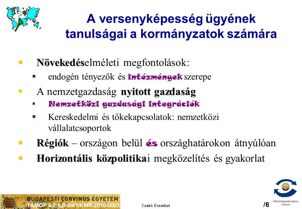 TÁMOP 4.2.1.B-09/1/KMR-2010-0005 Czakó Erzsébet /6 A versenyképesség ügyének tanulságai a kormányzatok számára  Növekedés  Növekedéselméleti megfont