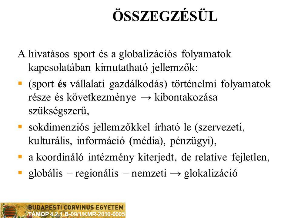 TÁMOP 4.2.1.B-09/1/KMR-2010-0005 A GLOBALIZÁCIÓ INTÉZMÉNYRENDSZERE Nemzetállamok INGO MNV-k Nemzetközi gazdasági Formális: nemztk. sportági ? szerveze