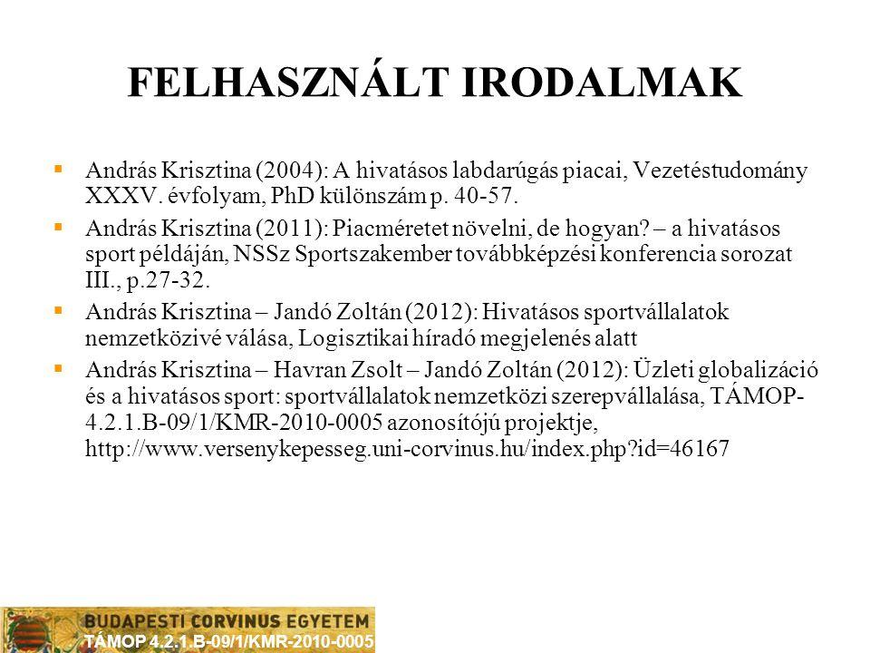 TÁMOP 4.2.1.B-09/1/KMR-2010-0005 ÖSSZEGZÉSÜL A hivatásos sport és a globalizációs folyamatok kapcsolatában kimutatható jellemzők:  (sport és vállalat