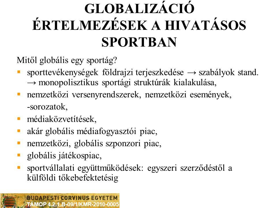 TÁMOP 4.2.1.B-09/1/KMR-2010-0005 GLOBALIZÁCIÓS JELENSÉGEK A HIVATÁSOS SPORTBAN média hatása, szerepe internet hatása, szerepe globális fogyasztók: médiafogyasztók és merchandise-vásárlók, globális szponzoráció, sportvállalatok nemzetközi stratégiái