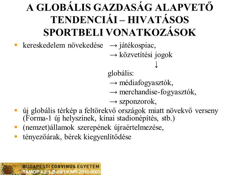 TÁMOP 4.2.1.B-09/1/KMR-2010-0005 GLOBALIZÁCIÓ ÉRTELMEZÉSEK A HIVATÁSOS SPORTBAN Mitől globális egy sportág.