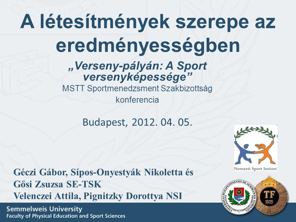 """A létesítmények szerepe az eredményességben """"Verseny-pályán: A Sport versenyképessége MSTT Sportmenedzsment Szakbizottság konferencia Budapest, 2012."""