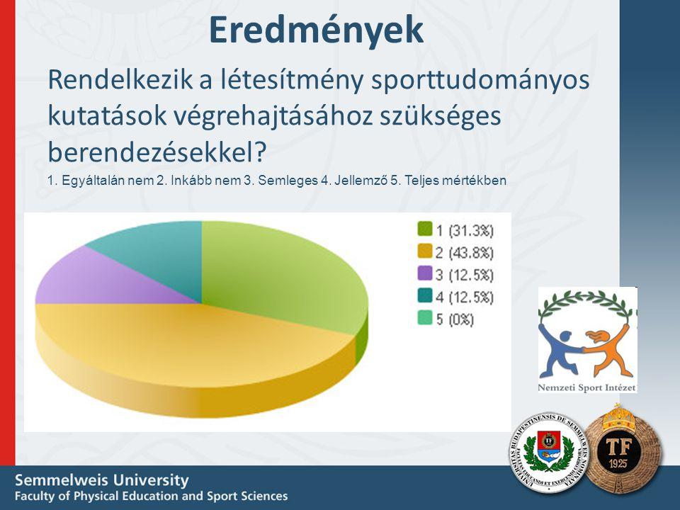 Eredmények Rendelkezik a létesítmény sporttudományos kutatások végrehajtásához szükséges berendezésekkel.